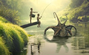 Boys fishing, and catching a giant Octopus