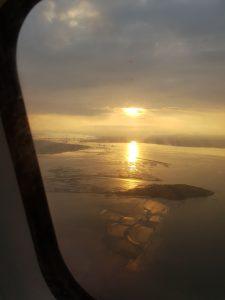 Sunset on Friday 13th, flying towards Edinburgh airport