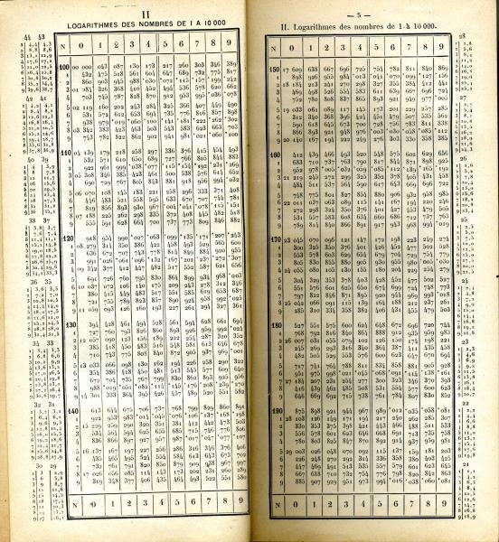 Muse virtuel de linformatique  Nouvelles tables de logarithmes  5 dcimales