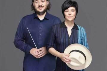 Foto de Fernanda Takai e maestro Rodrigo Toffolo