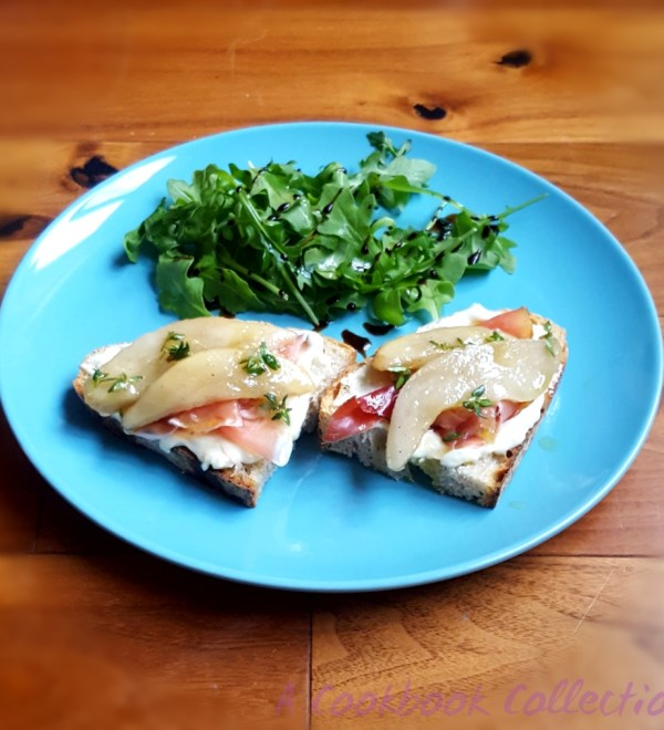 Pear Blue Cheese and Smoked Prosciutto Toasts - A Cookbook Collection
