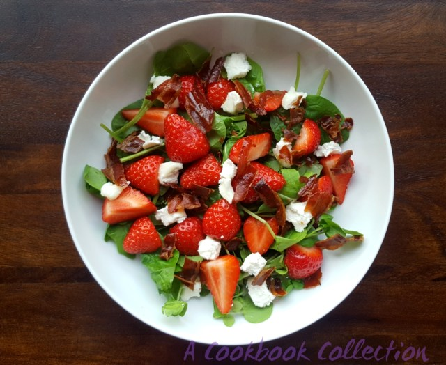 Strawberries Goats Cheese and Pancetta Salad - A Cookbook Collection