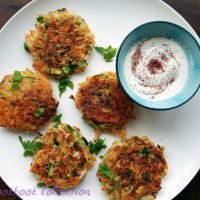Carrot Courgette and Halloumi Fritters