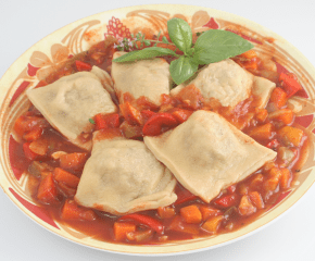 Oxtail-potato Ravioli with Vegetable Sauce