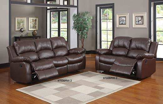 4. Homeglance 9700BRW – 2 Double Reclining Love Seat, Brown Bonded Leather