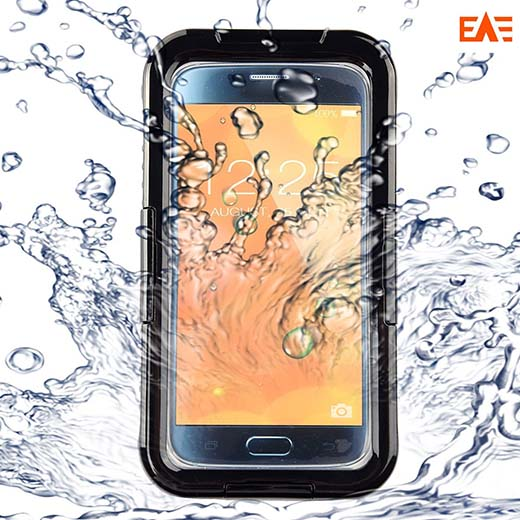 8.Galaxy S6/ S6 Edge Waterproof Case, EAE Underwater Waterproof Shockproof Durable Full Sealed Protection Case Cover for Samsung Galaxy S6/ S6 Edge, Black