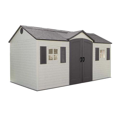 10. Lifetime 6446 Outdoor Storage Shed with Skylights, Shutters, and Windows