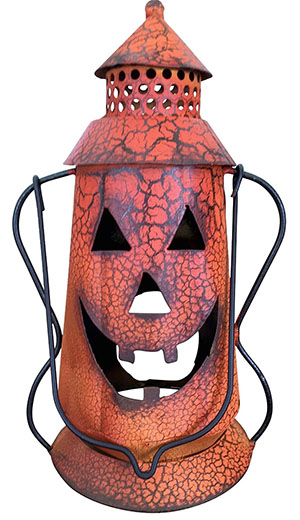 7. Halloween Pumpkin Tin Jack-o-lantern with Crackle Finish (Small 10.5