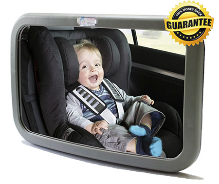 Baby & Mom Rear Facing Back Seat Infant Mirror, Gray