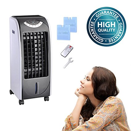 8. Koval Inc. 65W Portable Remote Control Evaporative Air Cooler Fan Humidifier with 6L Tank (65 W, Gray)