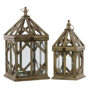 Wooden Cage Lantern Set