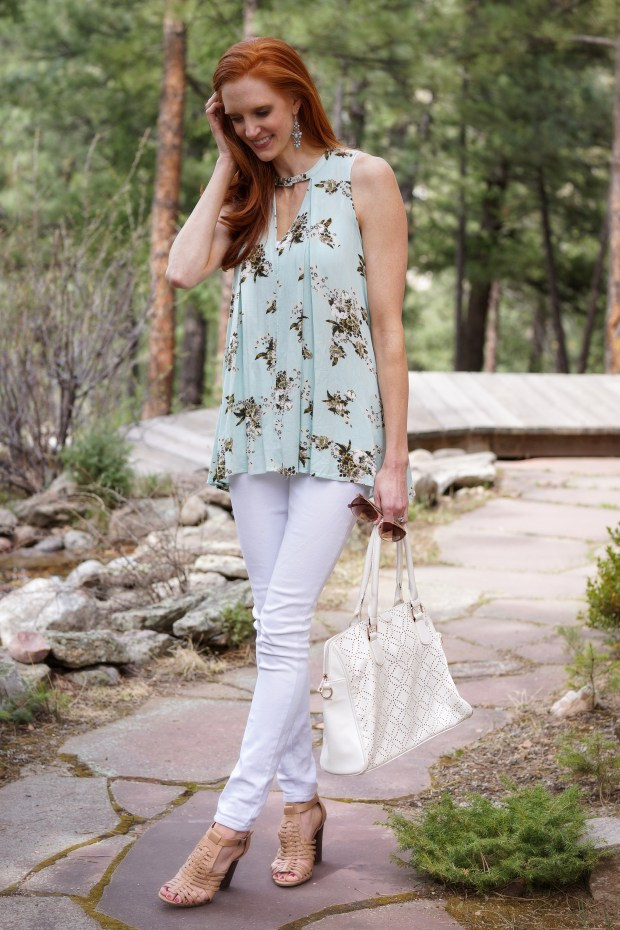 Mint Tunic + White Jeans
