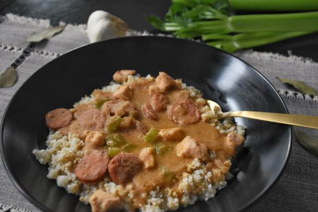 Paleo Chicken and Sausage Gumbo with Cauliflower Rice