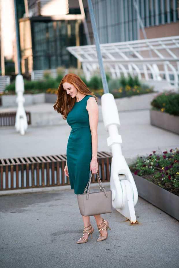 Green Back Zip Dress + Studded Heels