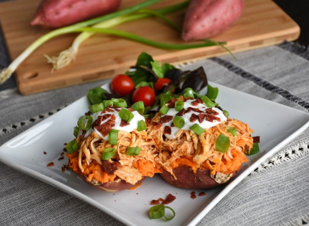 Buffalo Chicken Loaded Sweet Potatoes