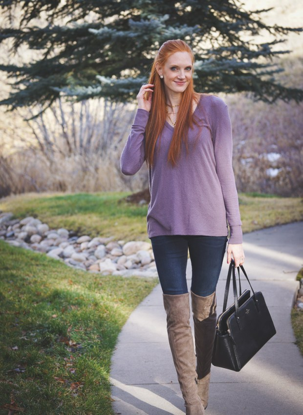 Soft V-Neck Sweater + OTK Boots Winter Outfit