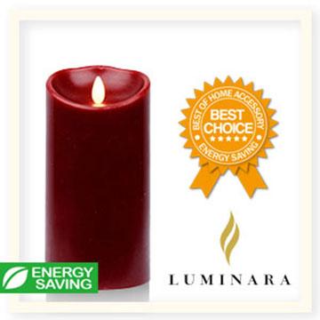 【Luminara 盧米娜拉 擬真火焰 蠟燭】 耶誕紅肉桂香氛光滑蠟燭禮盒(大)/66002 +加贈充電電池組