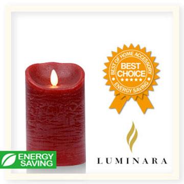 【Luminara 盧米娜拉 擬真火焰 蠟燭】耶誕紅肉桂香氛水紋蠟燭禮盒(中)/66003 +加贈充電電池組