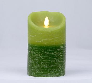 【Luminara 盧米娜拉 擬真火焰 蠟燭】 綠意盎然雙色漸層森林香氛水紋蠟燭禮盒(中)/66036 +加贈充電電池組
