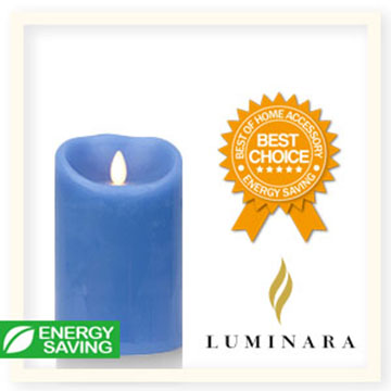 【Luminara 盧米娜拉 擬真火焰 蠟燭】天空藍海洋香氛光滑蠟燭禮盒(中)/66037 +加贈充電電池組