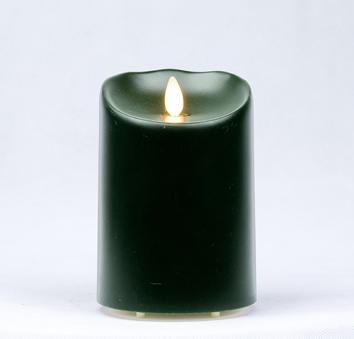【Luminara 盧米娜拉 擬真火焰 蠟燭】綠色戶外防水蠟燭(中)/66052 +加贈充電電池組