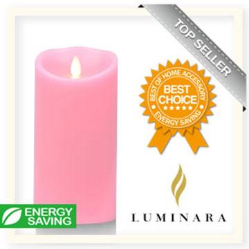 【Luminara 盧米娜拉 擬真火焰 蠟燭】 粉紅玫瑰香氛光滑蠟燭禮盒(大)/66053 +加贈充電電池組