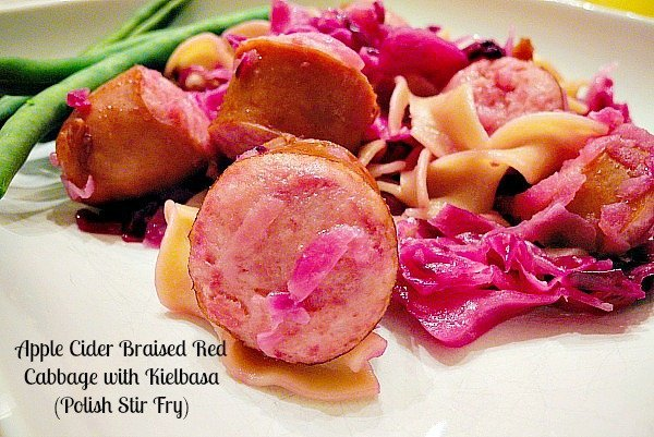Apple Cider Braised Red Cabbage with Kielbasa 2