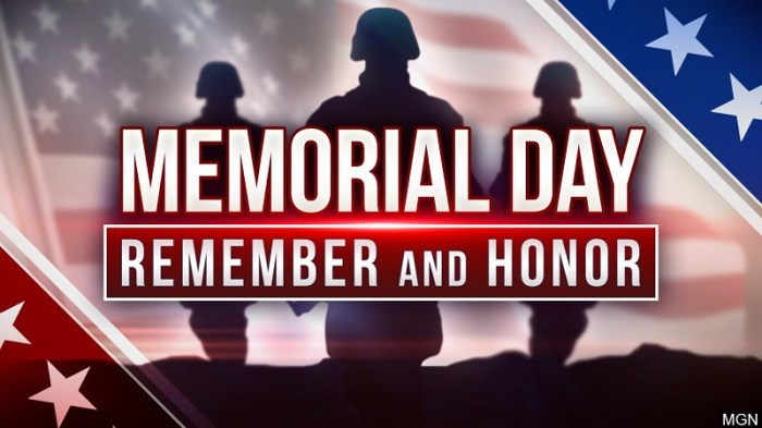 Memorial Day Weekend May 28, 2021 to May 31, 2021