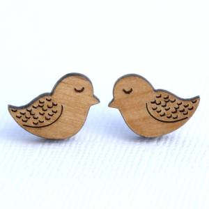 Acorn and Squirrel Earrings Bird