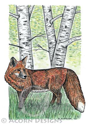 Red Fox Notecard