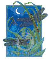 Dragonflies by Moonlight Lokta Card