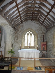 The simple chancel of the lady chapel with its lovely old ceiling