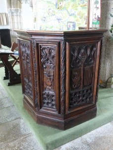 Golant: the pulpit constructed of bench-ends