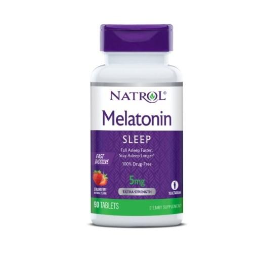Natrol Melatonin Fast Dissolve Tablets, Strawberry flavor 5mg, 90 Count