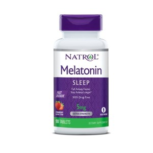 Natrol Melatonin Fast Dissolve Tablets, Strawberry flavor 5mg, 90 Count