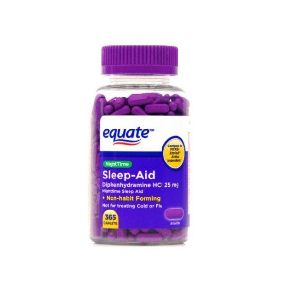 Equate NightTime Sleep-Aid Caplets 25mg, 365 Count