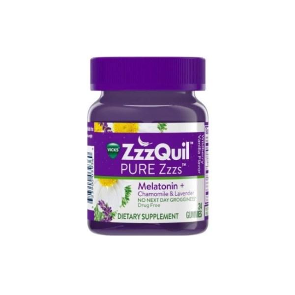 Vicks ZzzQuil Pure Zzzs Melatonin + Chamomile & Lavender Gummies, 24 Gummies