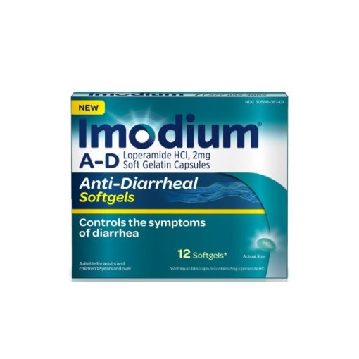 Imodium A-D Anti-Diarrheal Softgels, Loperamide Hydrochloride, 12 ct.