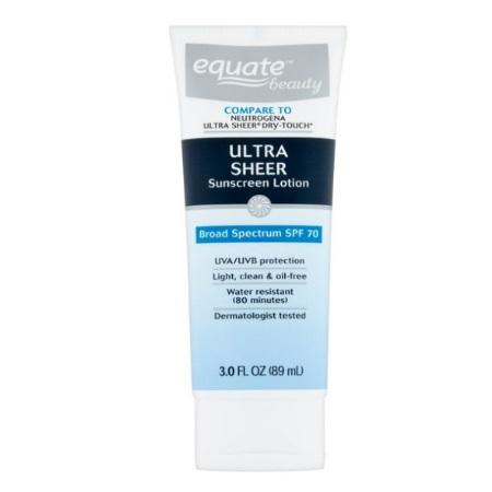 Equate Beauty Ultra Sheer Sunscreen Lotion, Broad Spectrum, SPF 70, 3 fl.oz/89ml