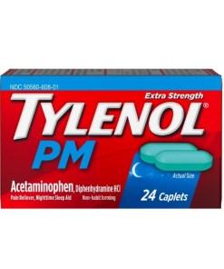 Tylenol PM Extra Strength Pain Reliever & Sleep Aid Caplets, 24 caps