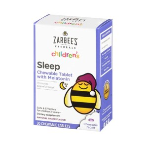 Zarbee's Naturals Children's Sleep Melatonin Supplement Grape Flavor, 30 Chewable Tablets