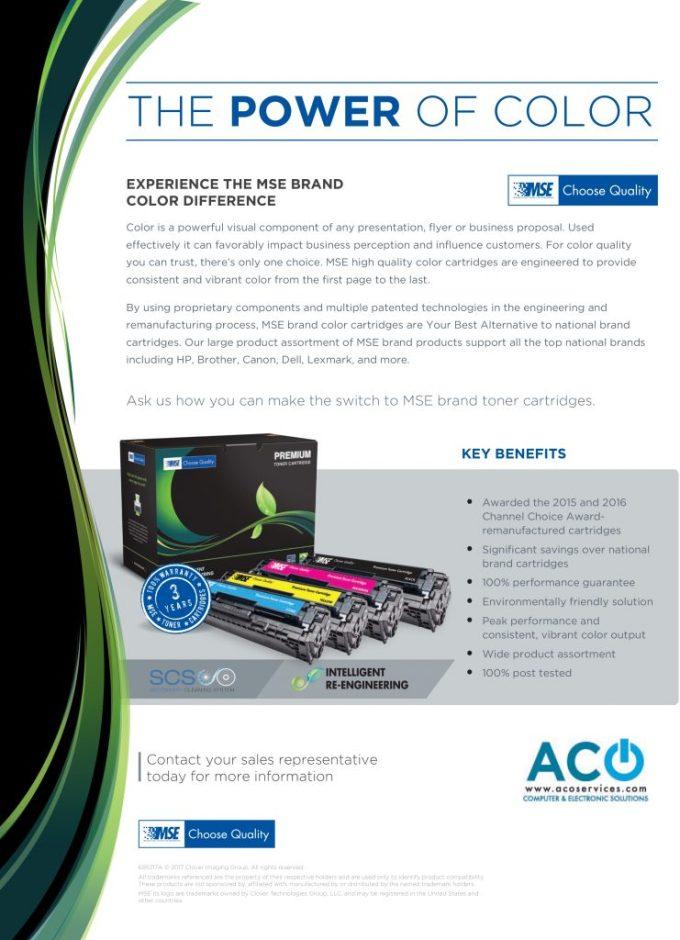 695217 Mse Color Laser Toner Aco Services Flyer Aco Services