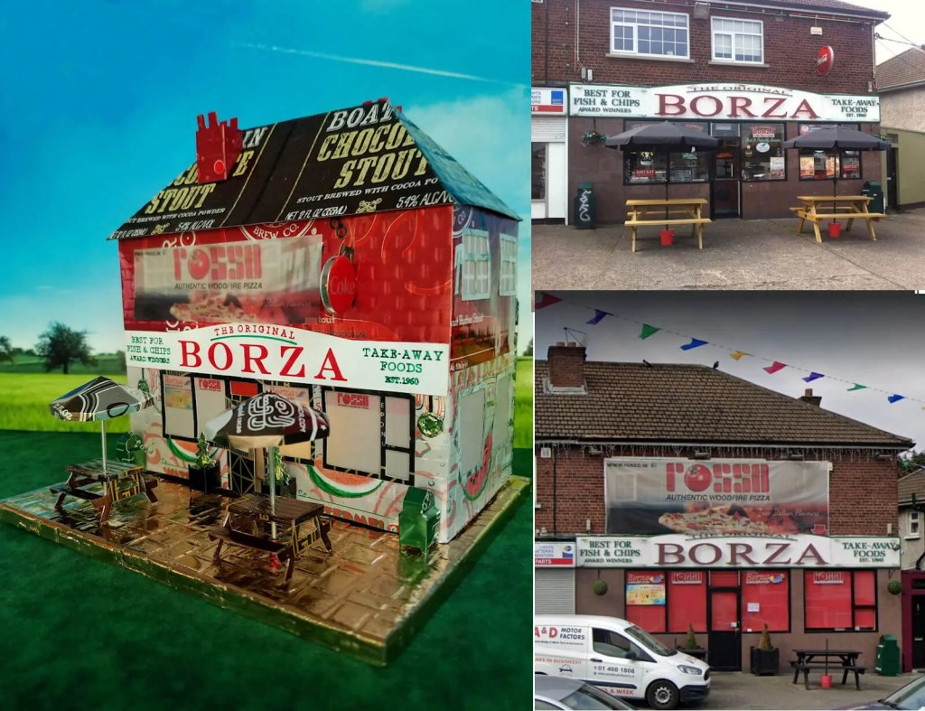 Borza Fish & Chips and actual building in Dublin