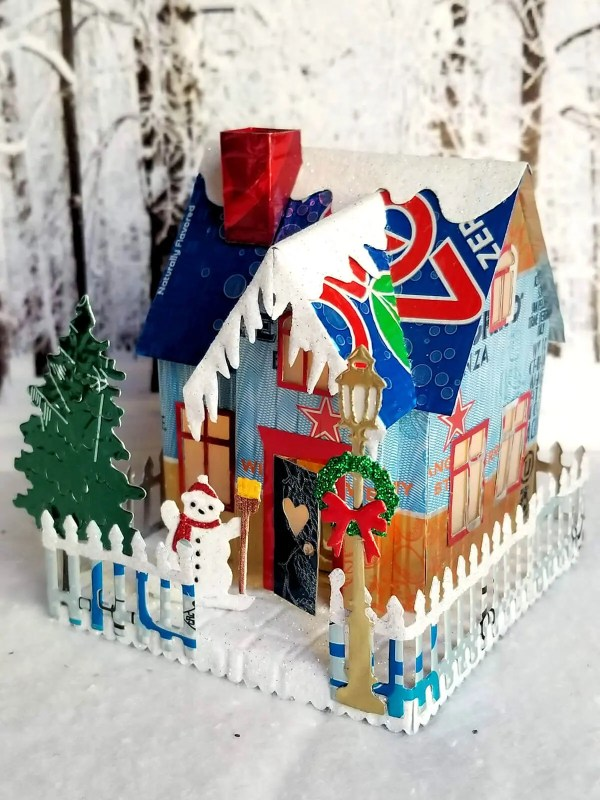 Winter Country Cottage aluminum can house image 2 of 6