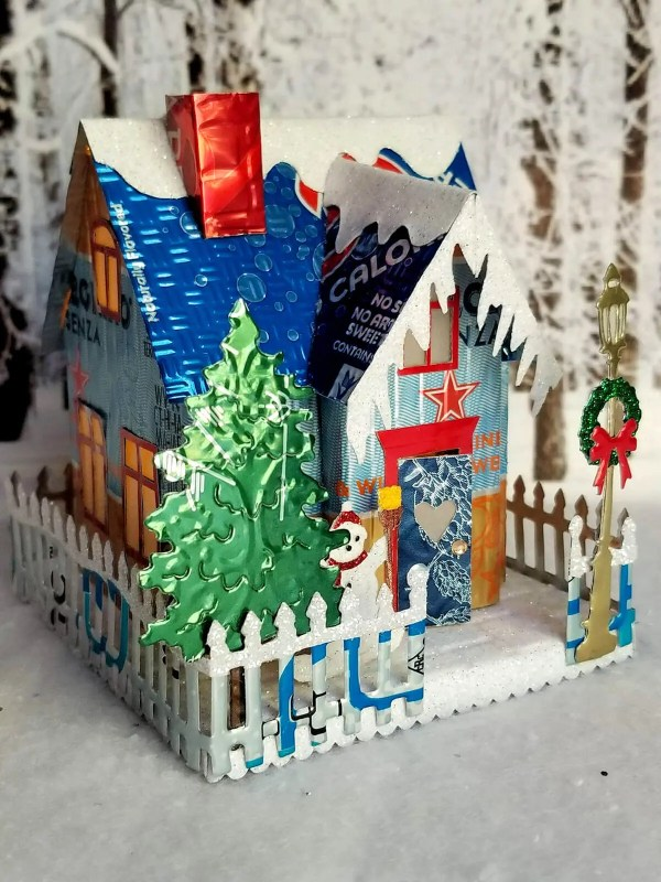 Winter Country Cottage aluminum can house image 3 of 6