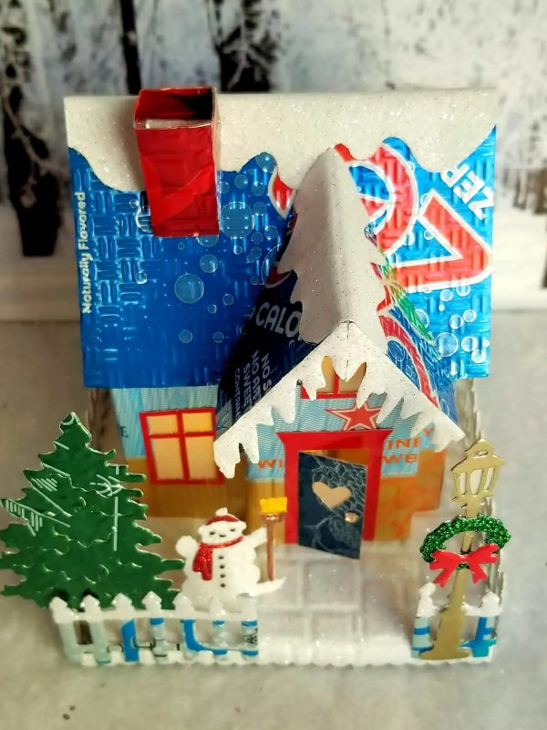 Winter Country Cottage aluminum can house image 4 of 6