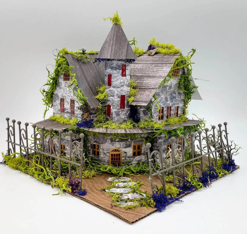 Embossed Paper house made by Shabby Shimmer Designs
