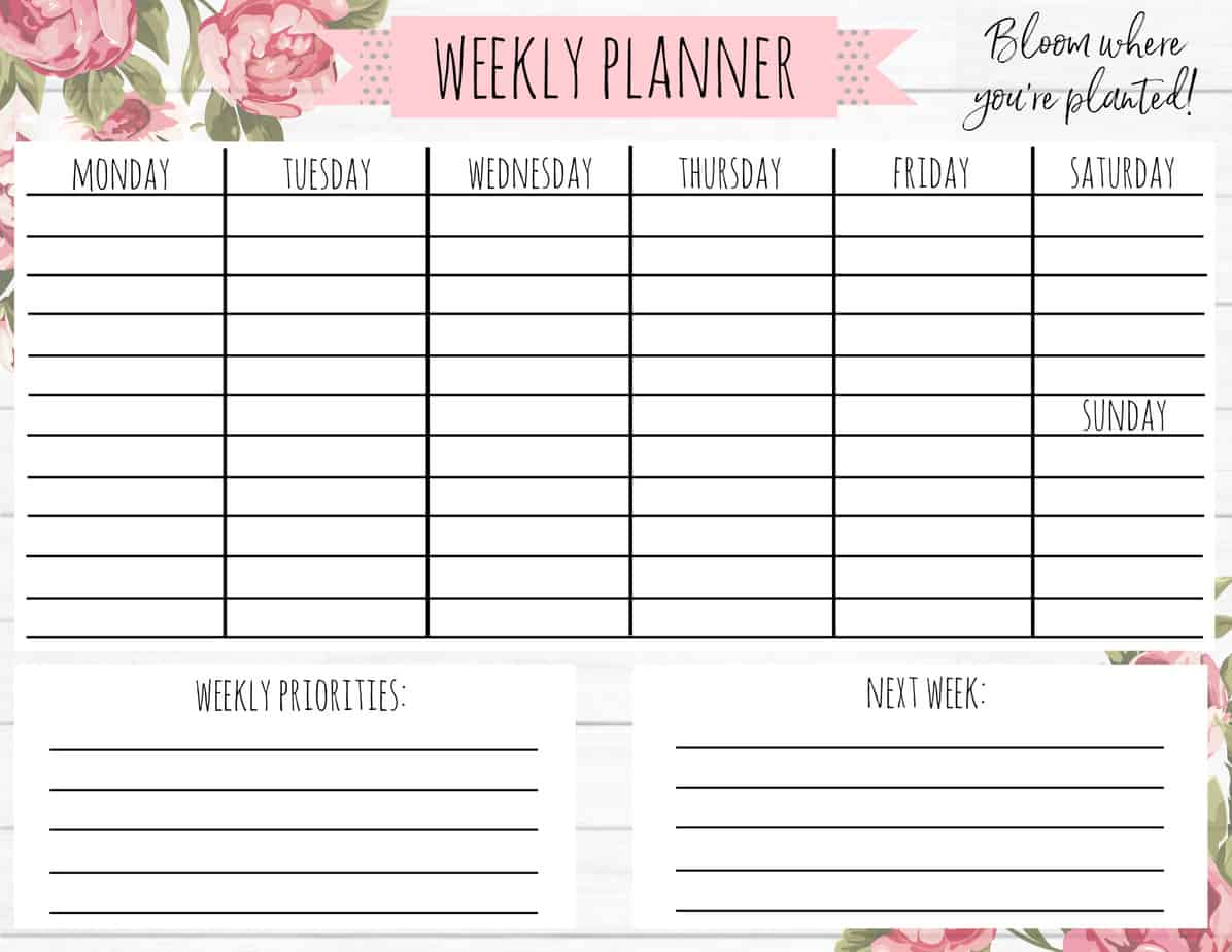 image relating to Cute Weekly Planner identify Absolutely free Printable Weekly Calendar for Every single Style and design! - A Nation