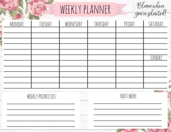Free Printable Weekly Calendar for Every Style! - A Country