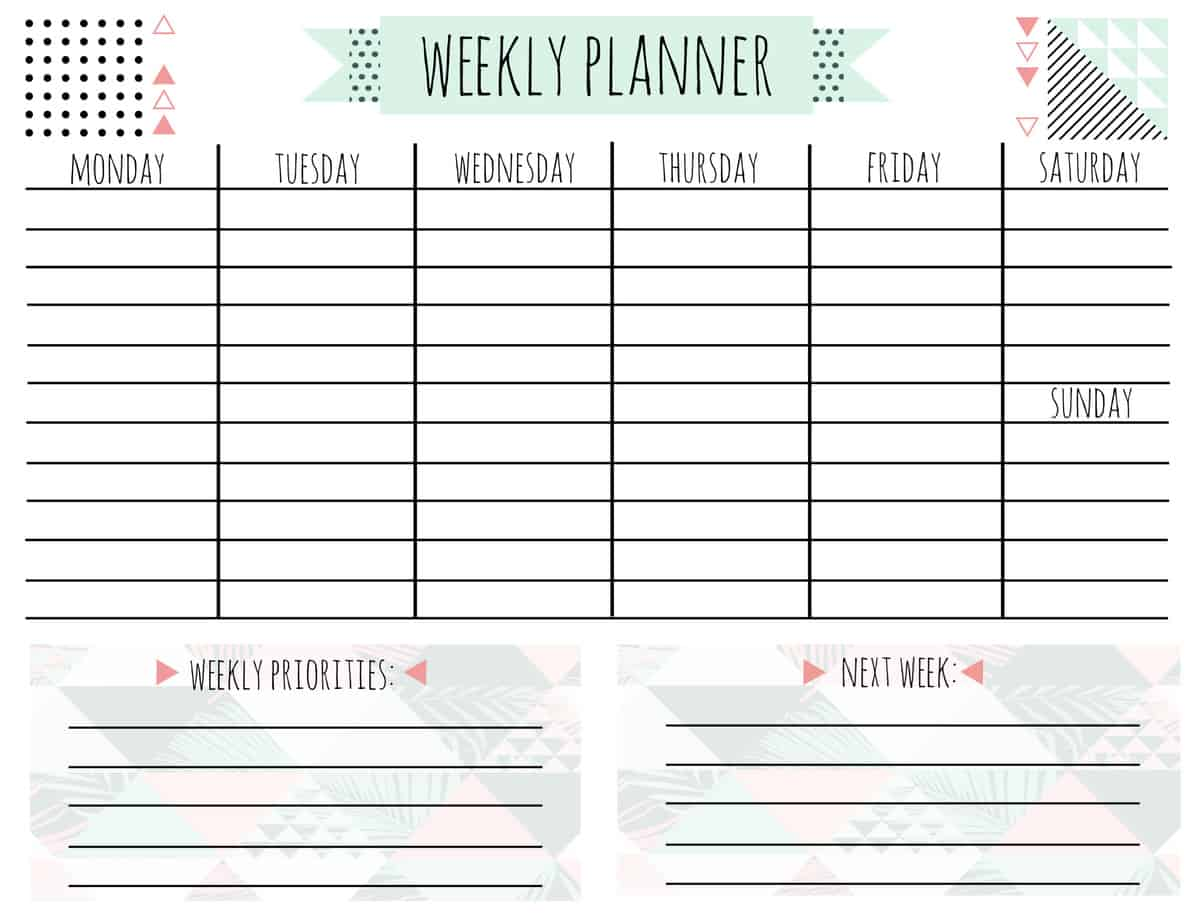 picture relating to Free Weekly Planner Printable called Absolutely free Printable Weekly Calendar for Each individual Style and design! - A Place